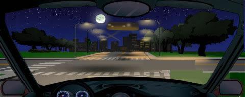 夜间行车遇到图中所示的交叉路口,不管有没有车辆和行人横过路口,都要开启远光灯提示。