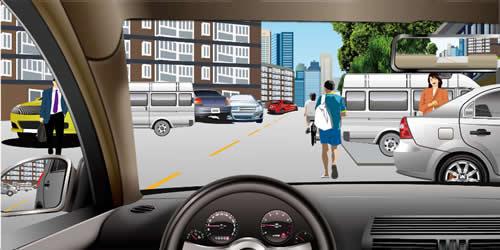 如图所示,在居民区内为了预防突发情况出现,驾驶人应如何安全驾驶?