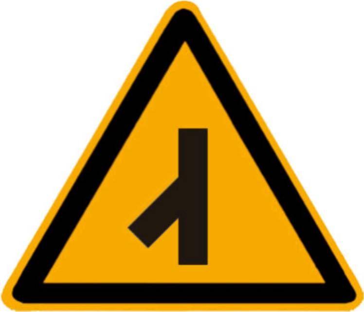 图中这个标志提示前方道路有Y型交叉路口,会有横向来车。