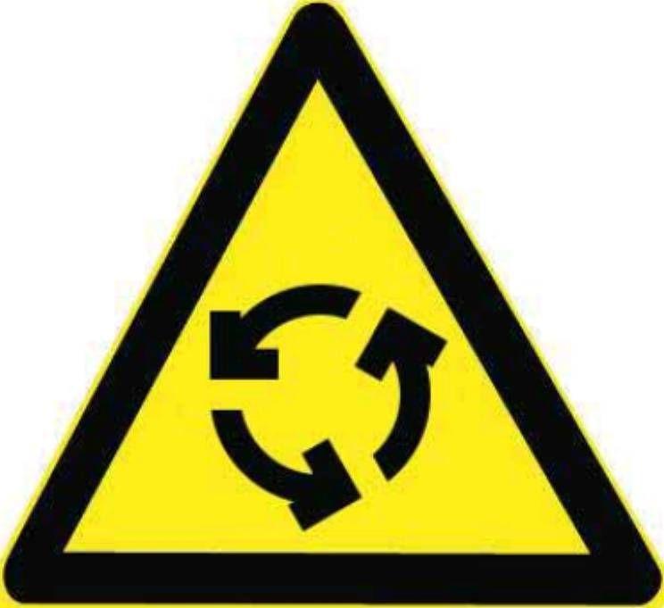 图中这个标志提示前方有环形交叉路口,前方路口可以掉头行驶。