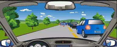 遇到图中所示前方车辆停车等待的情形,我方车应如何行驶?
