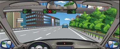 遇到图中这种有车道信号灯的路段,应该选择右侧或者左侧车道行驶。