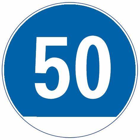 图中这个标志提示前方道路的最高车速限制在每小时50公里以下。