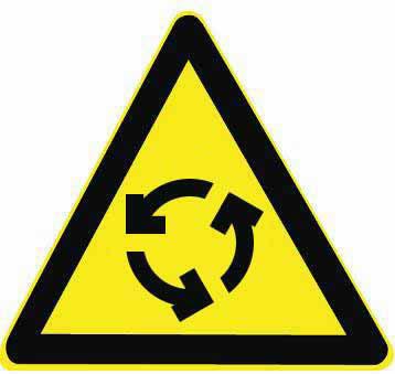 图中这个标志提示前方道路有环形交叉路口,前方路口可以掉头行驶。