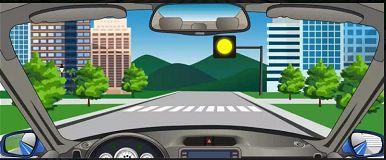 看到图中所示道路信号灯不断闪烁时,表示机动车可以加速通过。
