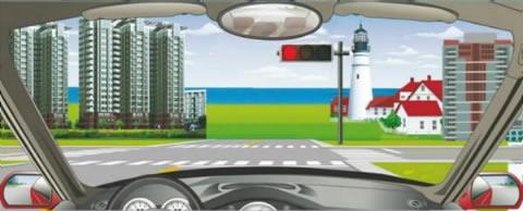 看到路口这种信号灯亮时,怎样做是正确的?