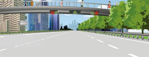 遇到图中这种有车道信号灯的路段,应该选择哪条车道行驶?