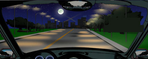 在这种环境中行车,怎样使用灯光是符合规定的?