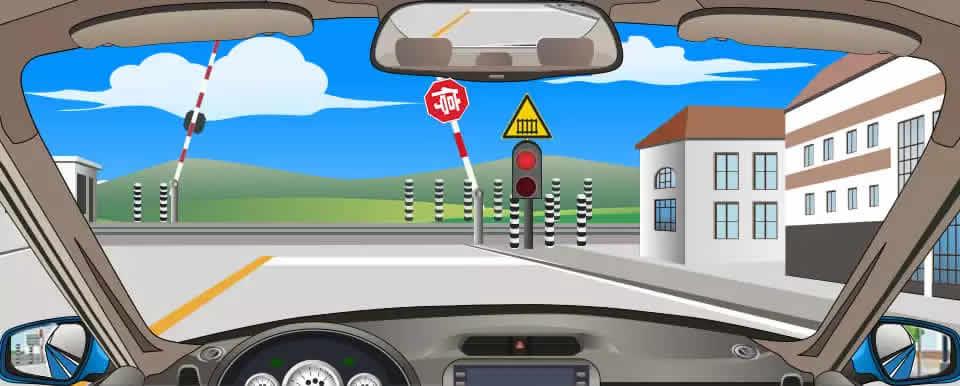 遇到图中所示信号灯亮着,但栏杆还没有落下,应怎样行驶?