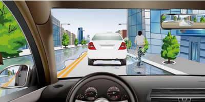 在图中所示的道路跟车行驶时,为什么要保持较大的安全距离?