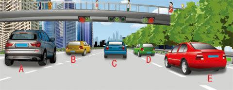 在图中所示有车道信号灯的路段,请判断哪辆机动车行驶的车道是正确的?