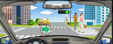 遇到图中所示的情况,应怎样行驶?