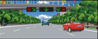 图中这辆红色小型客车选择的行车道是正确的。