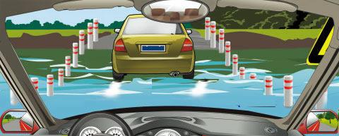 跟车进入一段如图所示的漫水路段时,怎么做是正确的?