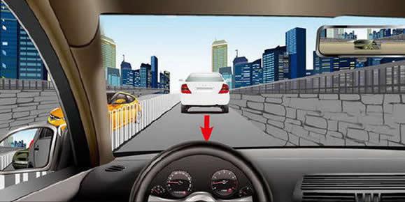 如图所示,驾驶机动车发现前车向后溜车,以下做法正确的是什么?