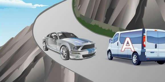 如图所示,驾驶机动车遇到这种情况,A车应当主动减速让行的原因是什么?