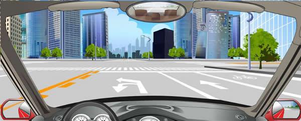 该车道路面导向箭头指示前方路口可左转弯或掉头。