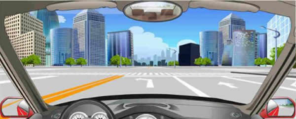 该车道路面导向箭头指示前方道路仅可左转。