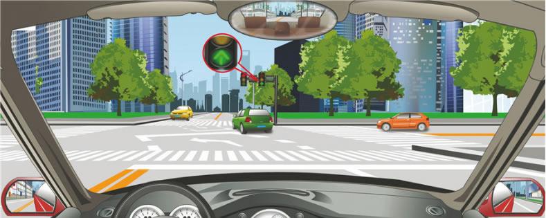 驾驶机动车在这个路口怎样左转弯行驶?