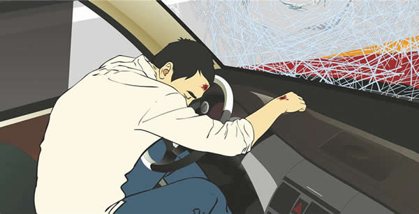 事故中造成这个驾驶人致命伤害的原因是什么?