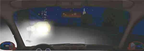 夜间会车遇到这种情况要警惕两车前照灯交汇处(视线盲区)的危险。