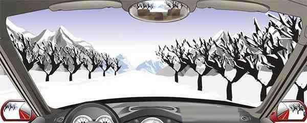 在积雪覆盖的冰雪路行车时,可根据路边树木、电杆等参照物判断行驶路线。