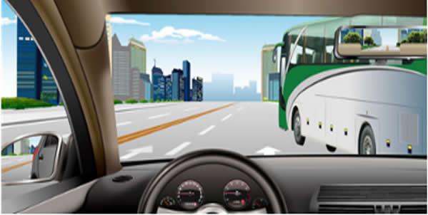如图所示,驾驶机动车临近停在车站的公交车时,以下做法正确的是什么?