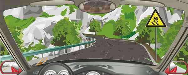 右侧标志提醒前方是连续急转弯道路。