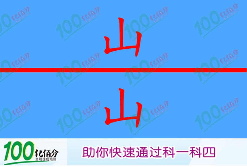 右侧这个标志提醒前方是傍山险路。