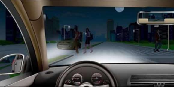 如图所示,夜间驾驶机动车通过没有交通信号灯的人行横道时,以下做法正确的是什么?