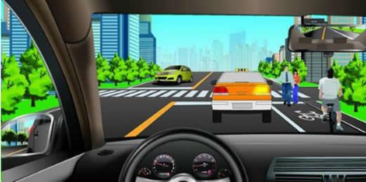 如图所示,驾驶机动车跟车行驶遇到出租车正在接送乘客时,以下做法正确的是什么?