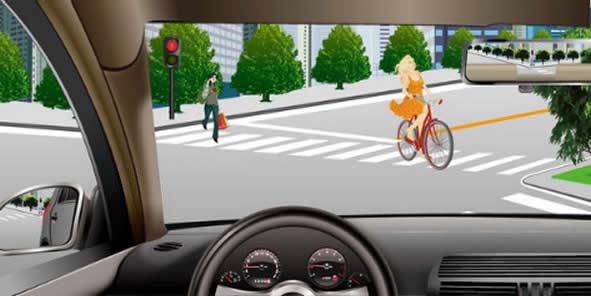 如图所示,驾驶机动车右转遇到这种情况时,可以不给非机动车和行人让行。