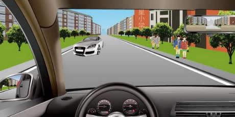 如图所示,驾驶机动车遇到这种情况时,应该考虑到路边儿童可能会因为打闹而突然冲入路内。