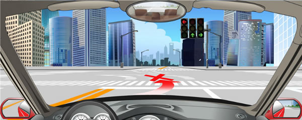 如图,左转弯车辆不可直接进入左转弯待转区,等待放行信号。