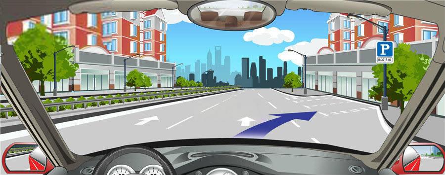 路右侧白色矩形虚线框内表示允许长时间停车。