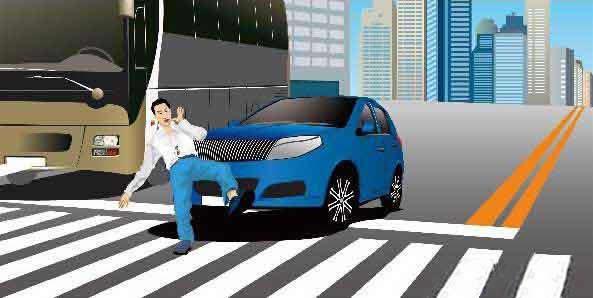如图所示,造成这起事故的主要原因是机动车未按规定避让行人。