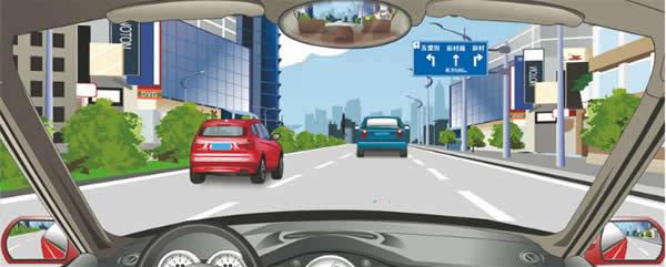 前方标志预告交叉路口通往方向的信息。