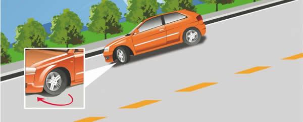 驾驶机动车在这种情况下临时停车后,为避免机动车前溜可将转向盘向右转。