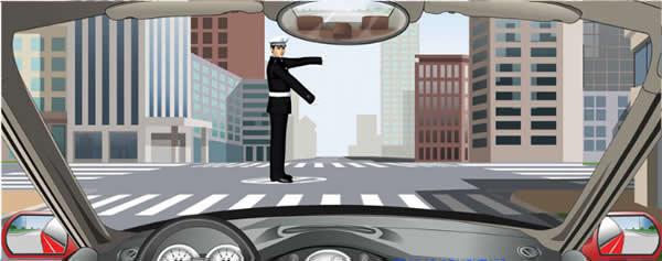 交通警察发出这种手势信号时允许在路口向右转弯。
