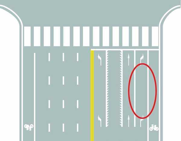 图中圈内白色实线是什么标线?