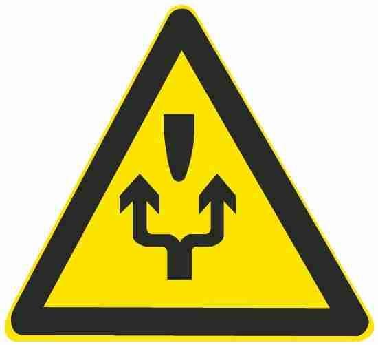 这个标志的含义是告示前方道路施工,车辆左右绕行。