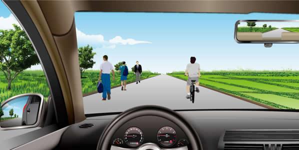 如图所示,机动车在这种道路上行驶,在道路中间通行的原因是什么?