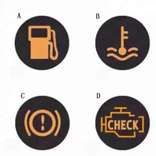 行车中下列哪个灯亮,提示驾驶人车辆制动系统出现异常?