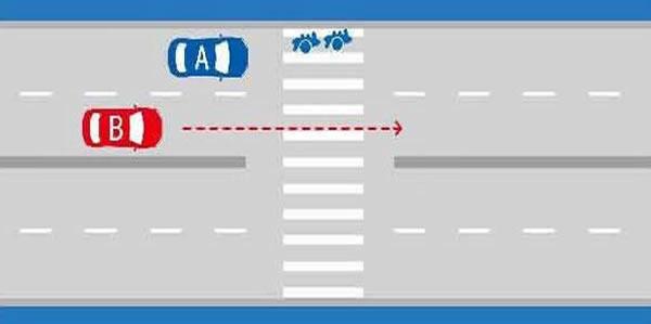 如图所示,当越过停在人行横道前的A车时,B车应减速,准备停车让行。