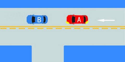 如图所示,A车可以从左侧超越B车。