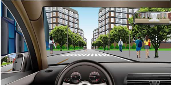 如图所示,驾驶机动车遇到没有行人通过的人行横道时不用减速慢行。