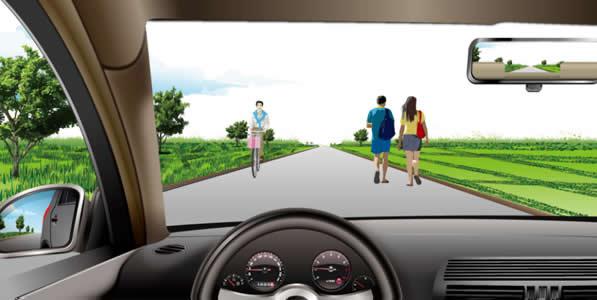 如图所示,在这种道路上行驶,应在道路中间通行的主要原因是在道路中间通行速度快。
