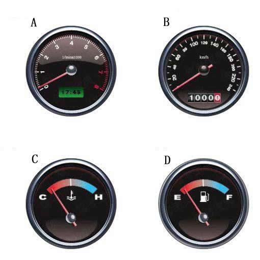 以下哪个仪表表示速度和里程表?