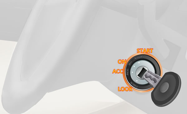 点火开关在LOCK位置拔出钥匙转向盘会锁住。