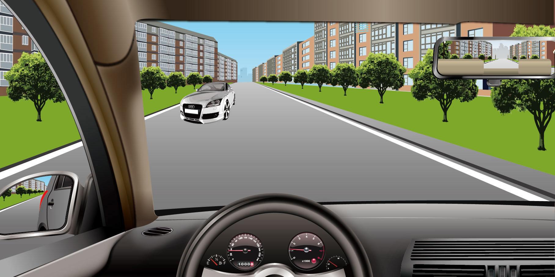 如图所示,在这种情况下,会车时必须减速靠右通过。